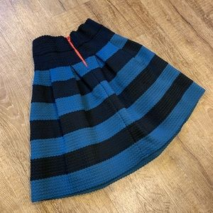 XS/S Girls From Savoy Ponte Pleated Striped Skirt